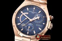 VACH. CONSTANTINE Overseas Dual Time Power Reserve RG/RG Blue TWA A1222