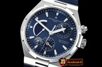 Vach. Constantine Overseas Dual Time Power Reserve SS/RU Blue TWA A1222