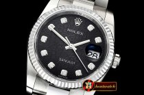 Rolex Datejust Man DJ 36mm Oyst Fluted SS/SS Black Anniv Diam DJF A3135
