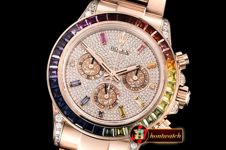 Rolex Daytona 116595 RBOW RG/RG Diams PRF Asia 7750 - Click Image to Close