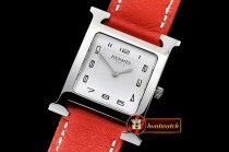 Hermes H-OUR Ladies SS/LE Red White Num MKF Swiss Qtz