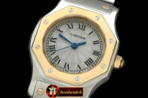CAR0315A - Ladies Original Santos SS/YG White Swiss Quartz