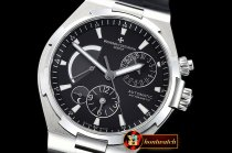 Vach. Constantine Overseas Dual Time Power Reserve SS/RU Blk TWA A1222