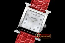 Hermes H-OUR Ladies SS/LE Red White MOP MKF Swiss Qtz