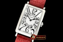 Franck Muller Long Island Ladies 952QZ SS/LE (Red) Wht GF Swiss Qtz