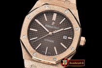 Audemars Piguet Royal Oak 15400 Frosted RG/RG Brown Asia 21J Mod 3120