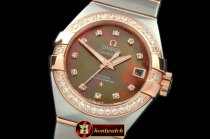 OMG0352A - Double Eagle Ladies Auto SS/RG Brown Diamonds J-Miyot