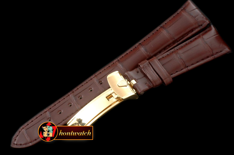 Replica Rolex Brown Croc Strap YG 20/16/ New Insignia Buckle