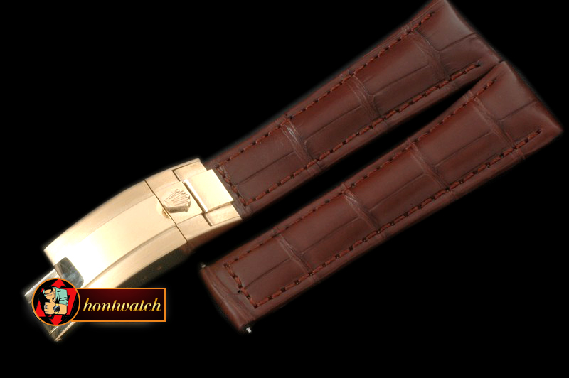 Replica Rolex Brown Croc Strap YG 20/16/ New Insignia Deployant