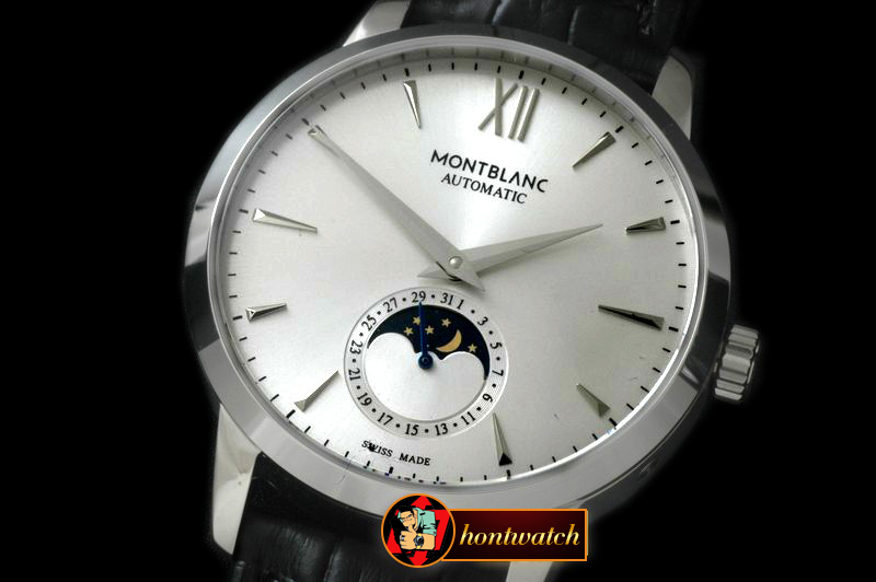 MB057B - Star Calendar Moonphase SS/LE White M-9105