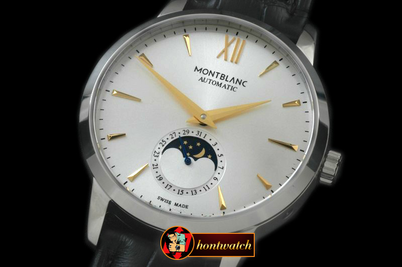 MB057C - Star Calendar Moonphase SS/LE White M-9105