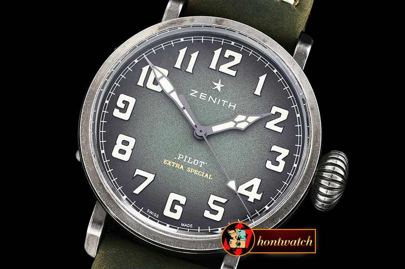 Zenith Type 20 Pilot Extra Special SS/LE Green XF MY9015 Mod