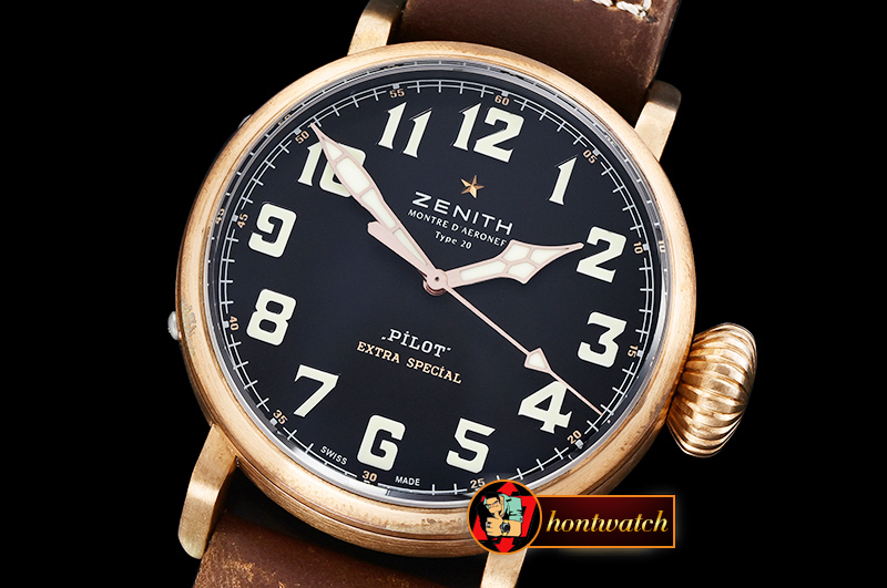 ZENITH Type 20 Pilot Extra Special BR/LE Black XF A2824 Mod