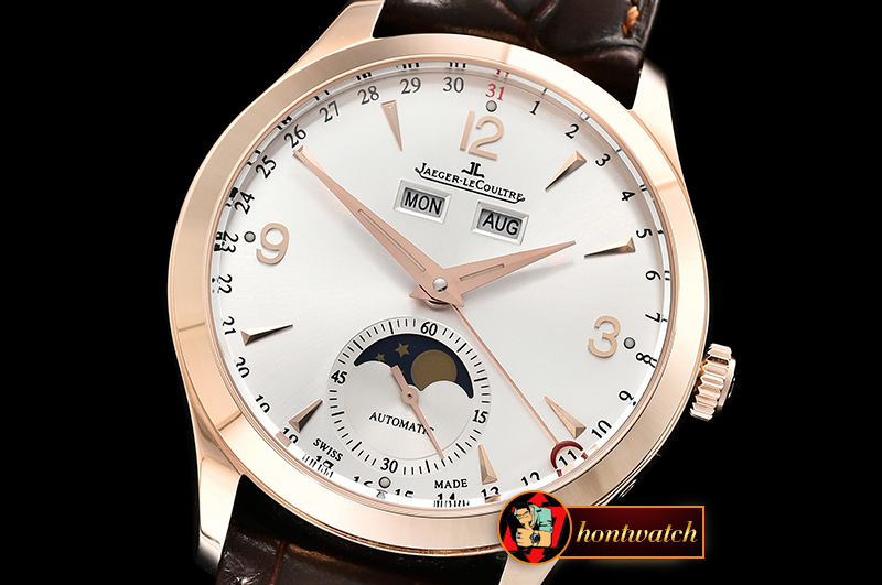 Jaeger Le Coultre Master Ultra Thin Moonphase RG/LE White KMF MY9015 Mod