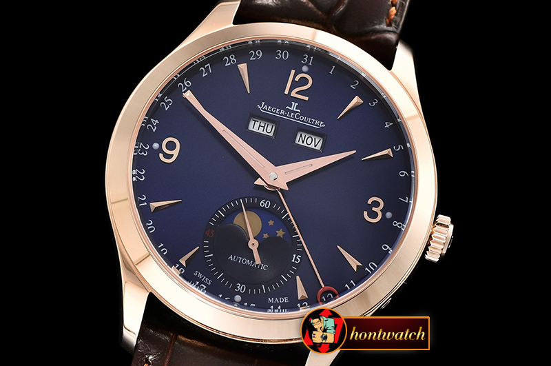 Jaeger Le Coultre Master Ultra Thin Moonphase RG/LE Blue KMF MY9015 Mod