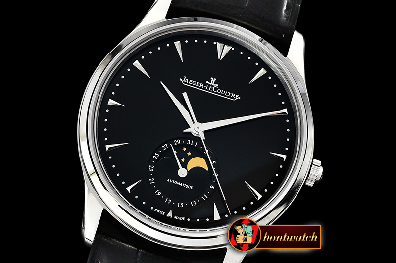 Jaeger Le Coultre Master Ultra Thin Moonphase SS/LE Black ZF 1:1 MY9015