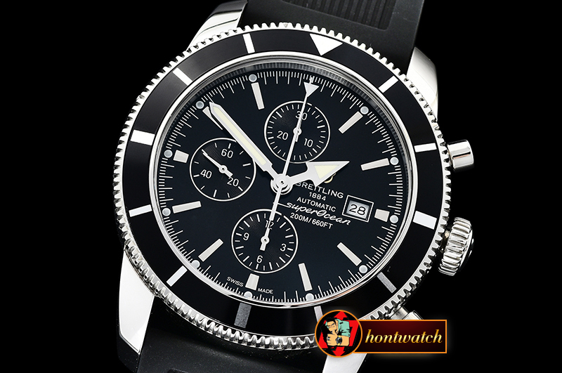 Breitling SuperOcean Heritage II Chronograph SS/RU Blk OMF A7750