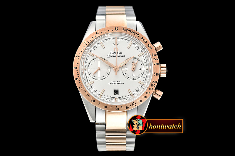 Omega SpeedMaster 57 Co-Axial RG/SS White OMF A7750 9300