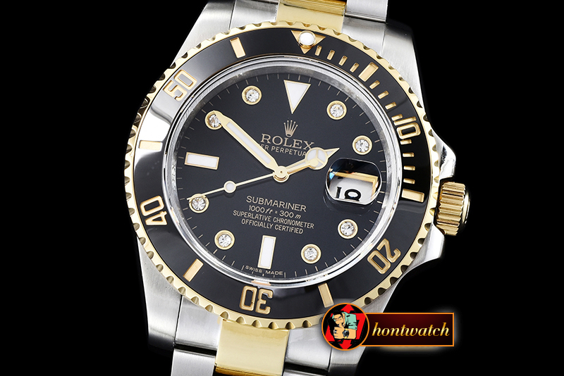 Rolex Submariner 116613 Diam YG/SS Blk BP V2 SP Asia 3135