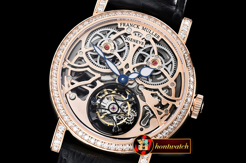 Franck Muller Giga Tourbillon Ronde Squelette Diams RG/LE Rose Tourb