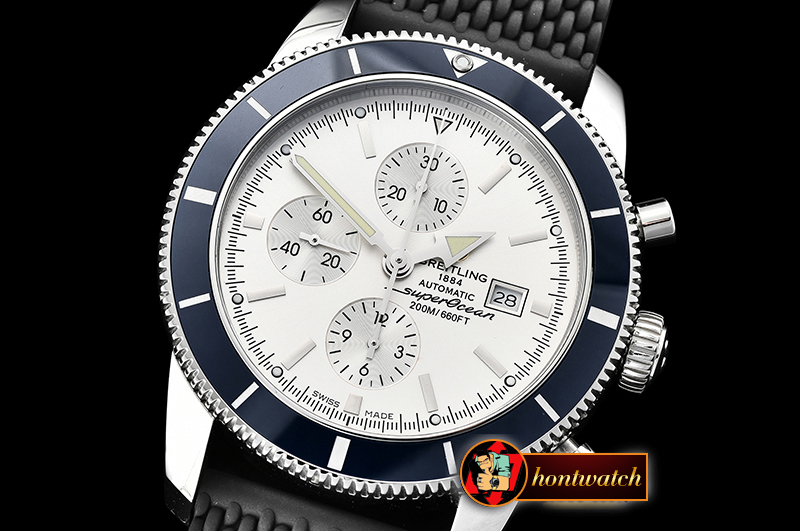 Breitling SuperOcean Heritage II Chrono SS/RU White OMF A7750 - Click Image to Close