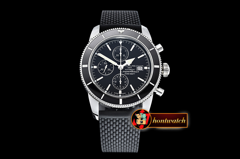 Breitling SuperOcean Heritage II Chrono SS/RU Black OMF A7750 - Click Image to Close
