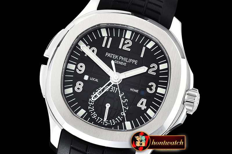 Patek Philippe Aquanaut Travel Time 5164A SS/RU Black GRF MY9015 Mod