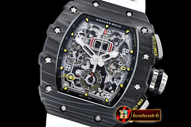 Richard Mille RM011-03 Flyback Chrono FC/RU (White) KVF A7750 Mod