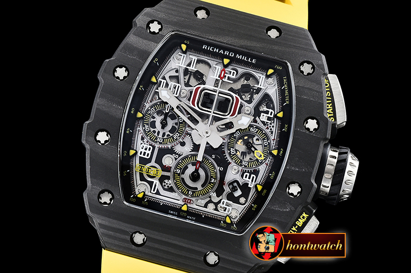 Richard Mille RM011-03 Flyback Chrono FC/RU (Yellow) KVF A7750 Mod